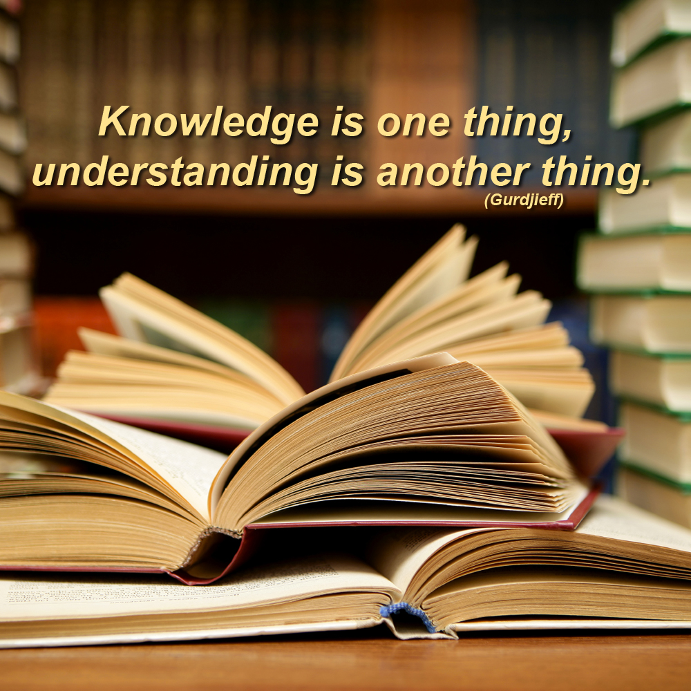Knowledge is one thing, understanding is another thing